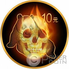 BURNING PANDA SKULL Black Ruthenium Gold 1 Oz Silver Coin 10 Yuan China 2015
