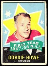 1968 69 OPC O PEE CHEE HOCKEY #203 GORDIE HOWE VG ALL STAR DETROIT RED WINGS