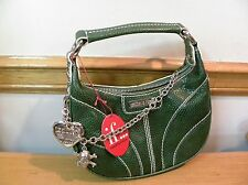 "Isabella Fiore Green Leather Purse Bag Heart Love Skull chain 8""x3""x8"" NWT $225"