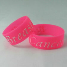 "5 Breast Cancer AWARENESS Wristband Bracelet 1"" Wide Silicone"