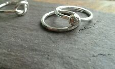 Handmade set of 2 Heavy 925 Sterling Silver Stacking Rings- 1-with Ball 1-Plain