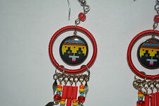 1 x pair ceramic  inca design earrings handmade red alpaca silver