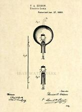 Official Thomas Edison Lamp US Patent Art Print - Vintage Light Bulb Antique -35