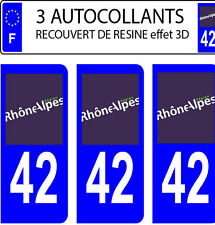 3 stickers plaque immatriculation auto DOMING 3D RESINE RHONE ALPES N° 42 BLEU