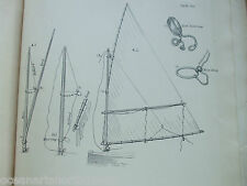 ANTIQUE PRINT C1895 DIXON KEMP SAILING YACHT & BOAT YARD BLOCK STROP MAST RING