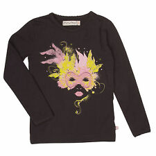 """BNWT """"MINYMO""""GIRLS BLACK WITH CARNIVAL MASK PRINT TOP from DENMARK, AGE 7 YEARS"""