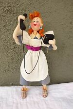 "11"" Cloth Klumpe Woman on Telephone with Tag Vintage"