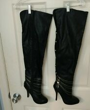 Women's Black Shi By Journeys Thigh High Boots Sz.6 Great Condition!