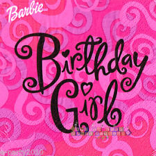 BARBIE BIRTHDAY GIRL SMALL NAPKINS (16) ~ Birthday Party Supplies Beverage Pink
