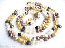 Multicolour Real Baroque Cultured Freshwater Pearl 120cm Long Necklace Brown