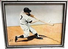 Mickey Mantle Original Oil Painting On Canvas Framed 17x13 NY Yankees  1/1
