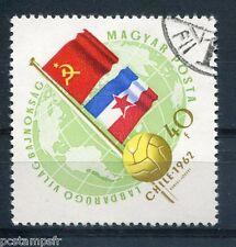 HONGRIE 1962, timbre 1506, FOOTBALL, DRAPEAUX URSS et YOUGOSLAVIE, oblitéré