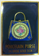 Classic Collectables Hand Painted Porcelain Purse 24K Gold Trim