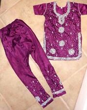 Youth Girl's 12 - 14 Years India Purple Crystals Shirt Harem Pant Outfit Costume