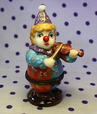 Vintage CLOWN Thimble Stash Box Case Jewelry Porcelain Playing Violin Fiddle