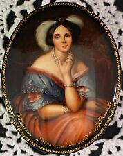 Fedoskino Hand Painted Russian Lacquer Box Signed Lovely Portrait of Young Lady