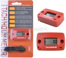 RED hour meter and tachometer resettable go kart racing 2 & 4 stroke maintenance