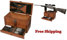 Gun Cleaning Tool Kit Rifle Shotgun Pistol Wood Gunsmith Chest Handmade Box Set