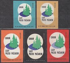 POLAND 1966 Matchbox Label - Cat.Z#699I/V set, Protect forests from fire.