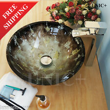 Elegent Design Hand Painted Bathroom Glass Vessel Sink Bowl Powder Room BVG004