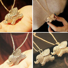 Lady Charm Golden Rhinestone Elephant Pendant Necklace Long Sweater Chain