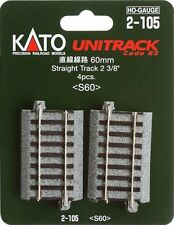 Kato 2-105 HO Unitrack 60mm 2 3/8in Straight 4pcs