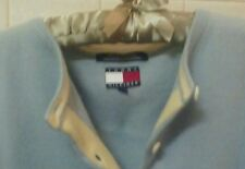 blue w tan 100% cashmere sweater cardigan tommy hilfiger ladies- large