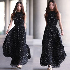 Keyhole Black & White Polka Dot Sleeveless Chiffon Ankle Length Dress W Belt