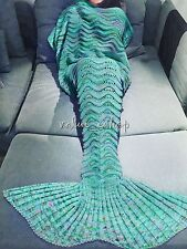 Mermaid Tail Blanket Kids Adult Sleeping Bag Christmas Costumes Gift Green Xmas