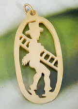 ANTIQUE CARVED BONE GOOD LUCK CHIMNEY SWEEP POCKET WATCH FOB CHARM #742U