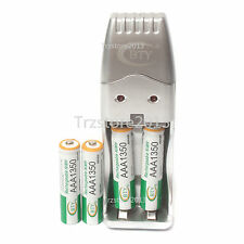 4 x 1.2 V AAA 1350mAh Ni-MH BTY Rechargeable Battery Cell & AA AAA USB Charger