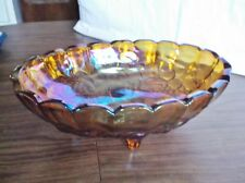 Indiana Carnival Glass Bowl, Iridescent Footed Oval Bowl with Grape Clusters