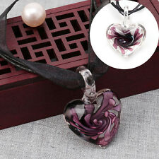 Murano Glass Pendant Necklace Purple Heart Flowers Ribbon Chain New