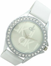 dk Silver Dial Crystal Studded Case Analog Pure White Soft Strap Wrist Watch