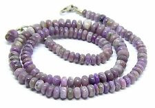 RARE NATURAL PURPLE AFRICAN SUGILITE RONDELLE BEADs NECKLACE 5-8mm 130ct .925 SS