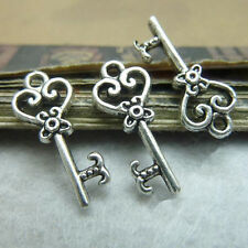 20pc Tibetan Silver Pendant Charms 2-Sided Key Accessories Bead Findings  GP053