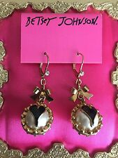 Betsey Johnson Vintage Gold Bow LOVE Pearl Black Enameled Heart Earrings NWT