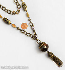 Chico's Necklace Signed Long Gold Tone Chain & Tassel Flower Beads Amber Color