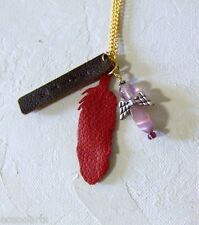 New Handmade Leather Feather Pendants & Angel Necklace Metal Chain