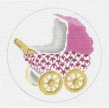 Edie & Ginger Pink Fishnet Baby Carriage Ornament handpainted Needlepoint Canvas