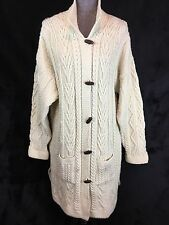Aran Crafts L Long Cardigan Sweater Ivory 100% Merino Wool Fisherman Knit
