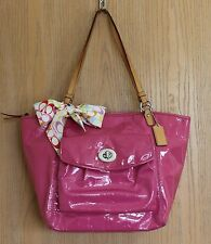 Coach Pink Signature Embossed Patent Leather Leah Tote Bag with Ponytail Scarf