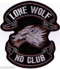 "Embroidered Motorcycle Patch Lone Wolf No Club Patch 10"" x 11"""