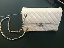 Authentic CHANEL white patent leather quilted purse bag