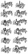 Graphic45 Cling Stamps-TIME TO FLOURISH #3 scrapbooking Set of (12) MONTHS