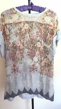 ZARA  Combination Floral Print Cap-Sleeve   Shirt  Blouse  SIZE  L