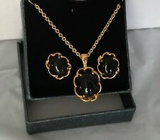 """QVC Gold Plated Black Onyx Earrings and Pendant Set 14K Gold 18"""" Long Chain"""