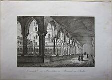1845 CONVENTO DEI BENEDETTINI IN MONREALE Zuccagni Orlandini Palermo