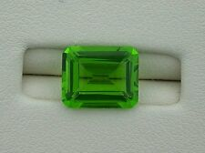 ONE 11x9 Synthetic Emerald Cut Bright Fluorescent Apple Green Peridot Lab Grown