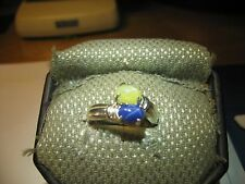 GEMINI 2 STONE BLUE/YELLOW LINDE STAR RING.925 STERLING SILVER SIZE 8  & more